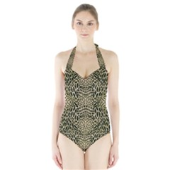 BROWN REPTILE Halter Swimsuit