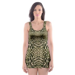 BROWN REPTILE Skater Dress Swimsuit