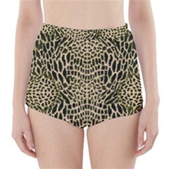 BROWN REPTILE High-Waisted Bikini Bottoms