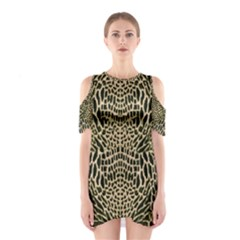 Brown Reptile Cutout Shoulder Dress