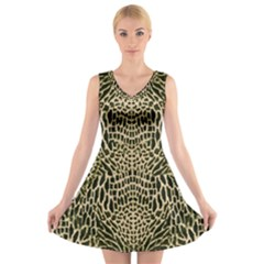 BROWN REPTILE V-Neck Sleeveless Skater Dress