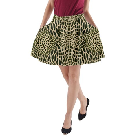 BROWN REPTILE A-Line Pocket Skirt