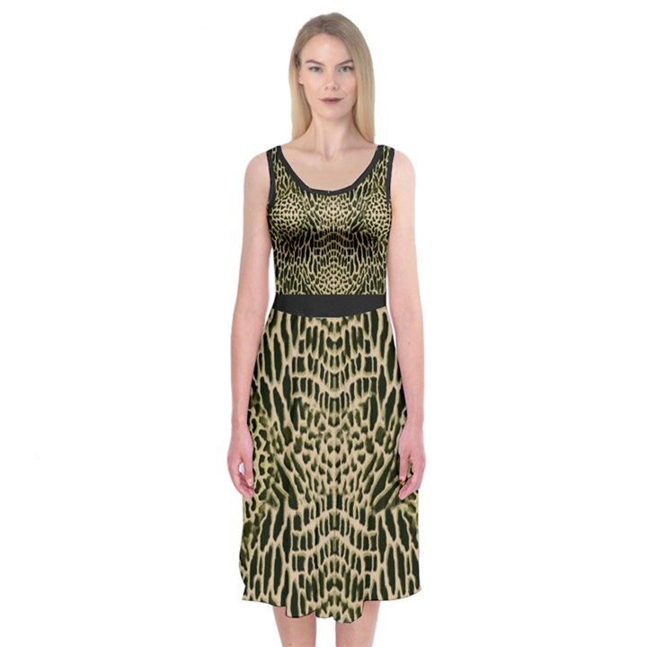 BROWN REPTILE Midi Sleeveless Dress