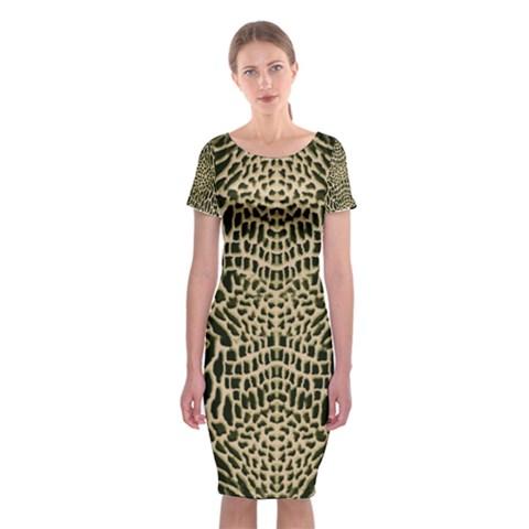 BROWN REPTILE Classic Short Sleeve Midi Dress