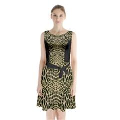 BROWN REPTILE Sleeveless Chiffon Waist Tie Dress