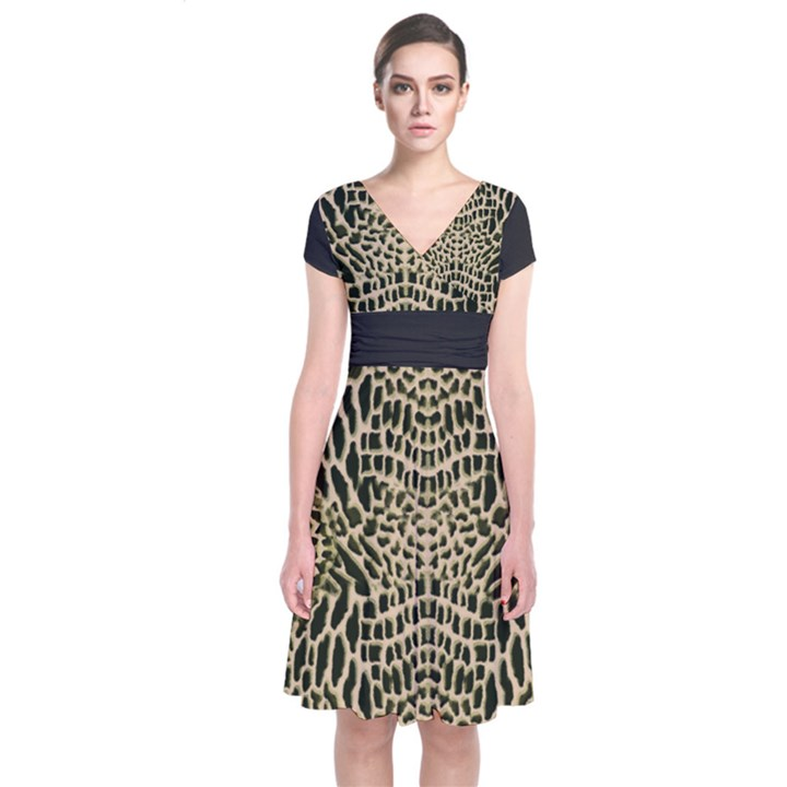 BROWN REPTILE Short Sleeve Front Wrap Dress