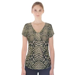 BROWN REPTILE Short Sleeve Front Detail Top