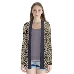 Brown Reptile Drape Collar Cardigan