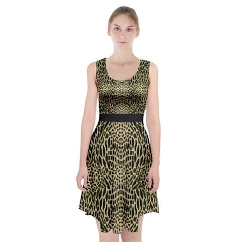 BROWN REPTILE Racerback Midi Dress
