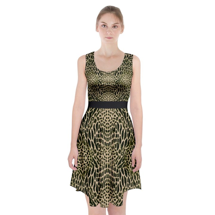 BROWN REPTILE Racerback Midi Dress