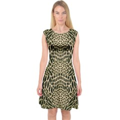 Brown Reptile Capsleeve Midi Dress