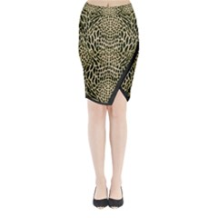Brown Reptile Midi Wrap Pencil Skirt