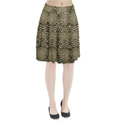 BROWN REPTILE Pleated Skirt
