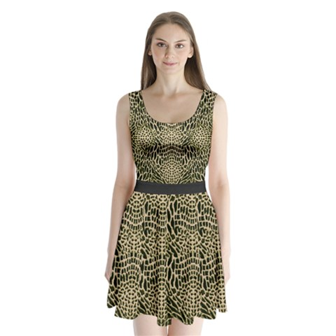 BROWN REPTILE Split Back Mini Dress