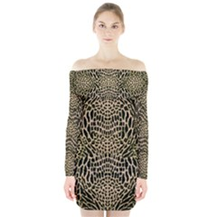 BROWN REPTILE Long Sleeve Off Shoulder Dress