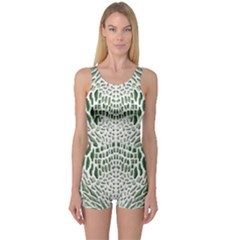 Green Snake Texture One Piece Boyleg Swimsuit