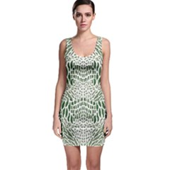 GREEN SNAKE TEXTURE Sleeveless Bodycon Dress