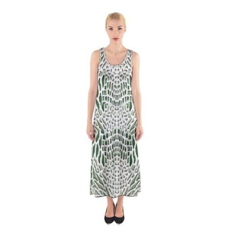 GREEN SNAKE TEXTURE Sleeveless Maxi Dress