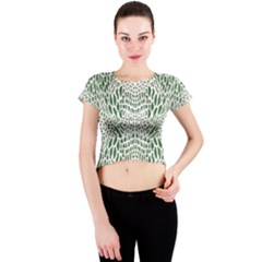 Green Snake Texture Crew Neck Crop Top