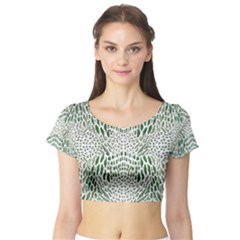 GREEN SNAKE TEXTURE Short Sleeve Crop Top (Tight Fit)