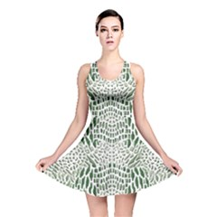 GREEN SNAKE TEXTURE Reversible Skater Dress