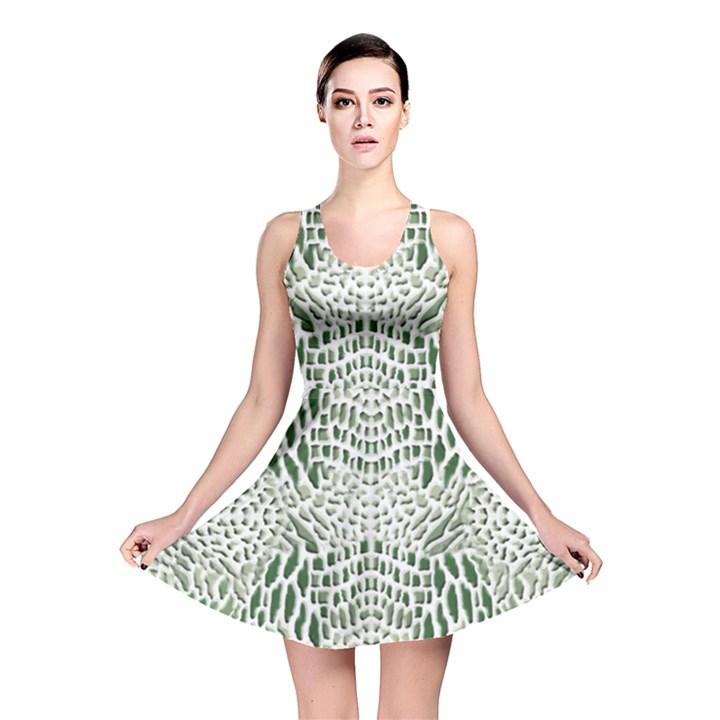 GREEN SNAKE TEXTURE Reversible Skater Dress
