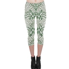 GREEN SNAKE TEXTURE Capri Leggings