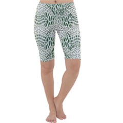 GREEN SNAKE TEXTURE Cropped Leggings
