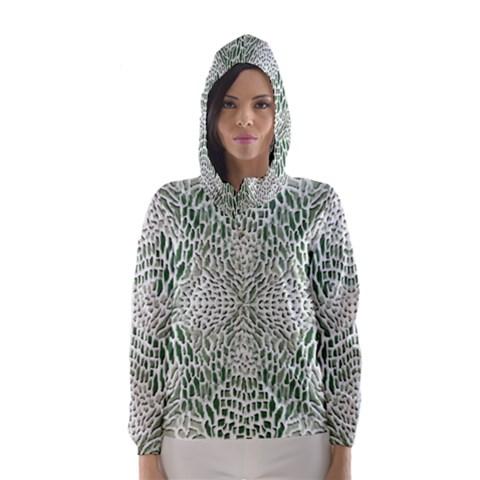GREEN SNAKE TEXTURE Hooded Wind Breaker (Women)
