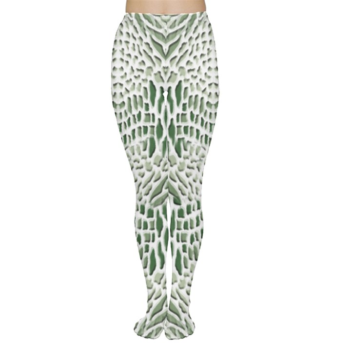 GREEN SNAKE TEXTURE Women s Tights