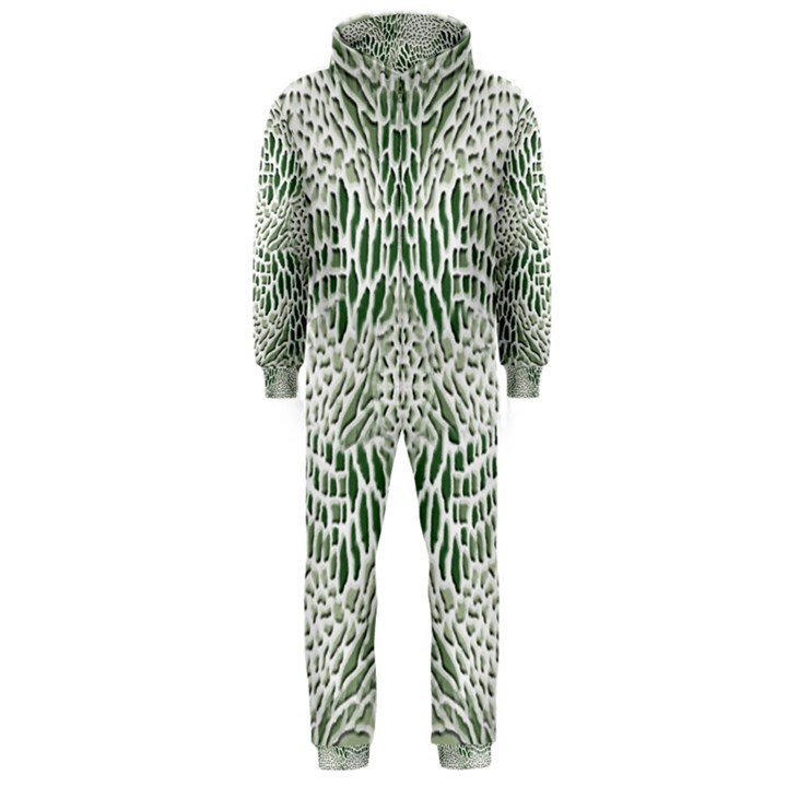 GREEN SNAKE TEXTURE Hooded Jumpsuit (Men)