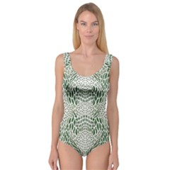 Green Snake Texture Princess Tank Leotard