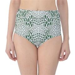 GREEN SNAKE TEXTURE High-Waist Bikini Bottoms