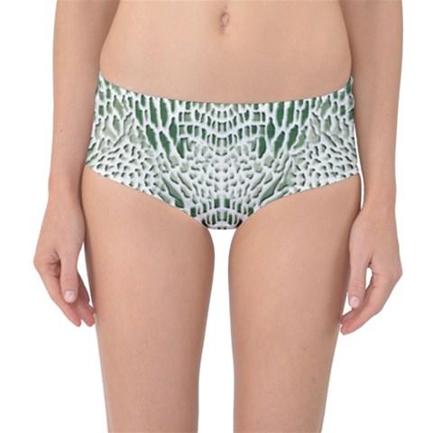 GREEN SNAKE TEXTURE Mid-Waist Bikini Bottoms