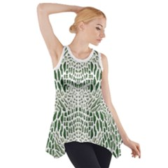 GREEN SNAKE TEXTURE Side Drop Tank Tunic