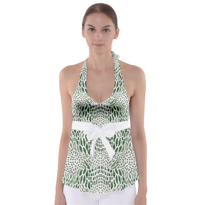 GREEN SNAKE TEXTURE Babydoll Tankini Top