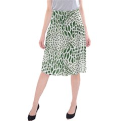 GREEN SNAKE TEXTURE Midi Beach Skirt