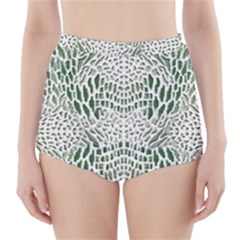GREEN SNAKE TEXTURE High-Waisted Bikini Bottoms
