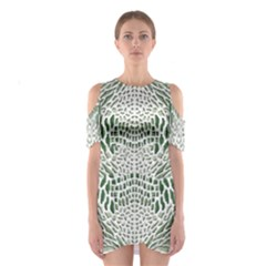 GREEN SNAKE TEXTURE Cutout Shoulder Dress