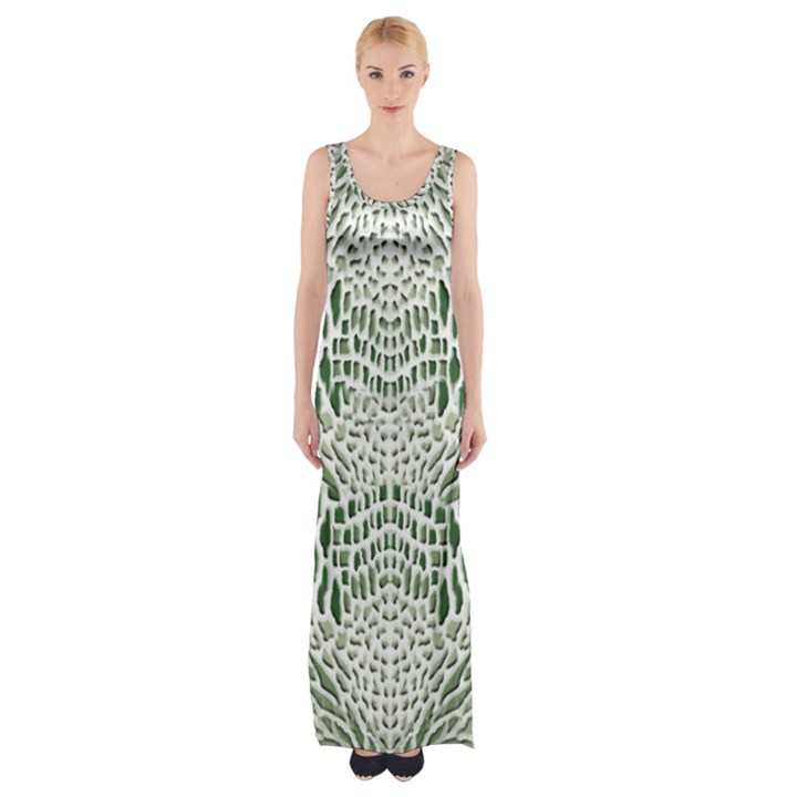 GREEN SNAKE TEXTURE Maxi Thigh Split Dress