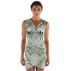 Green Snake Texture Wrap Front Bodycon Dress