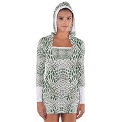 GREEN SNAKE TEXTURE Women s Long Sleeve Hooded T-shirt