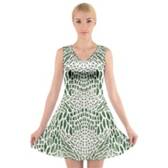 GREEN SNAKE TEXTURE V-Neck Sleeveless Skater Dress