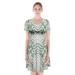 GREEN SNAKE TEXTURE Short Sleeve V-neck Flare Dress