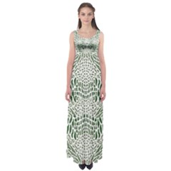 GREEN SNAKE TEXTURE Empire Waist Maxi Dress