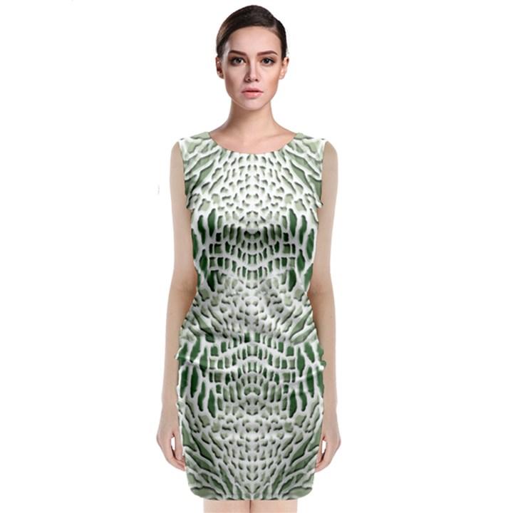 GREEN SNAKE TEXTURE Classic Sleeveless Midi Dress