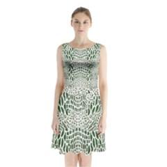 GREEN SNAKE TEXTURE Sleeveless Chiffon Waist Tie Dress
