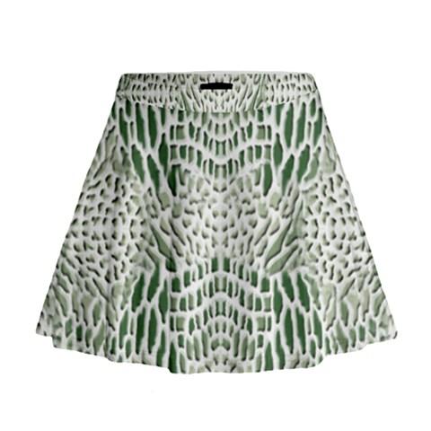 GREEN SNAKE TEXTURE Mini Flare Skirt