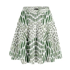 GREEN SNAKE TEXTURE High Waist Skirt