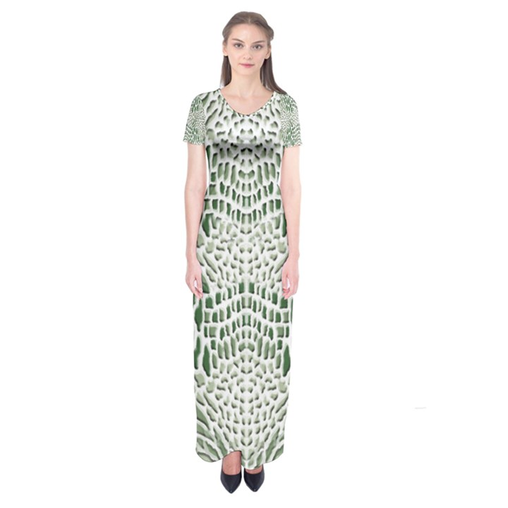 GREEN SNAKE TEXTURE Short Sleeve Maxi Dress